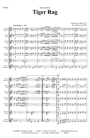 Tiger Rag – Jazz Classic – Saxophone Quintet