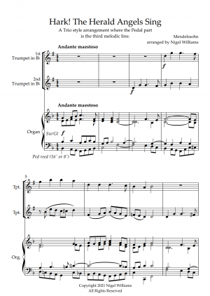 Hark! The Herald Angels Sing, for Trumpet Duet and Organ