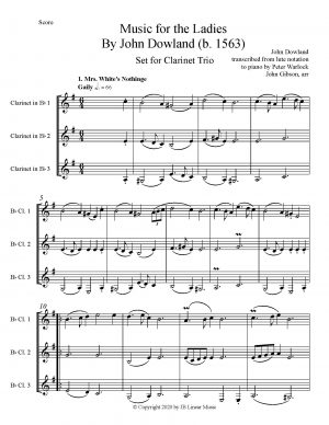 Dowland Music for the Ladies set for clarinet trio