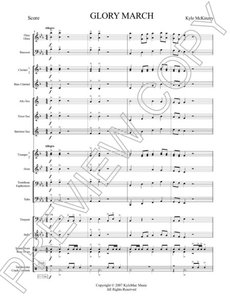 Glory March Score Preview Page 1