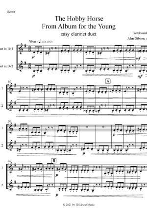 Hobby Horse by Tschaikowski for easy clarinet duet