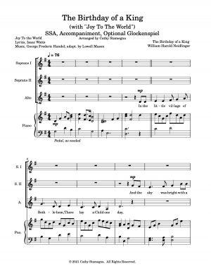"The Birthday of a King (with ""Joy To The World"") (Accompaniment, Optional Glockenspiel) SSA, TTB"