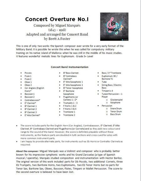 Concert Overture No.1 Marques Information