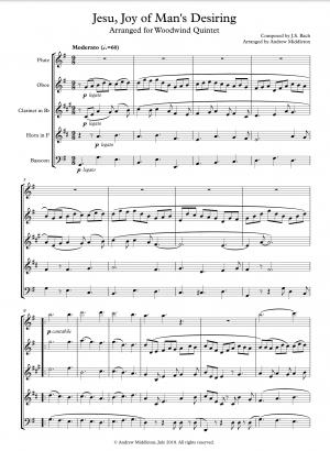 Jesu, Joy of Man's Desiring arranged for Woodwind Quintet