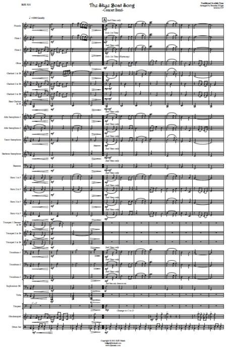 531 The Skye Boat Song Concert Band SAMPLE page 001