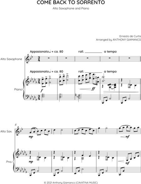 COME BACK TO SORRENTO alto sax and piano 0002