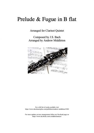Prelude and Fugue in B Flat arranged for Clarinet Quintet