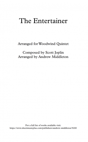 The Entertainer arranged for Woodwind Quintet