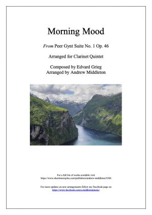Morning Mood from Peer Gynt Suite for Clarinet Quintet
