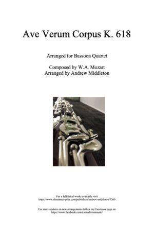 Ave Verum Corpus K. 618 arranged for Bassoon Quartet