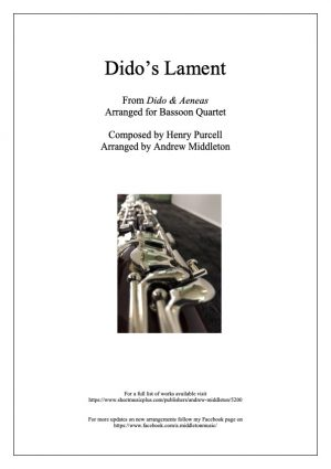 Dido's Lament arranged for Bassoon Quartet