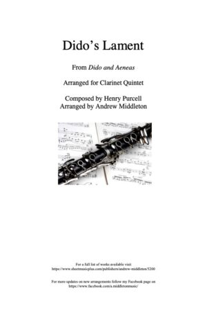 Dido's Lament arranged for Clarinet Quintet