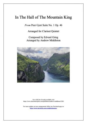In the Hall of the Mountain King from Peer Gynt Suite arranged for Clarinet Quintet