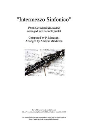 Intermezzo sinfonico from Cavalleria Rusticana arranged for Clarinet Quintet