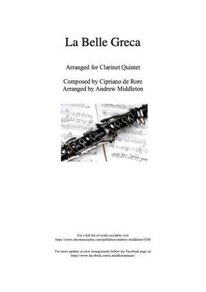 La Bella Grece arranged for Clarinet Quintet