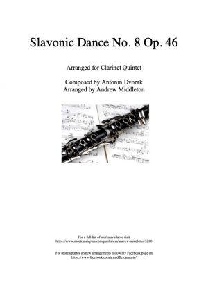 Slavonic Dance No. 8 Op. 46 arranged for Clarinet Quintet