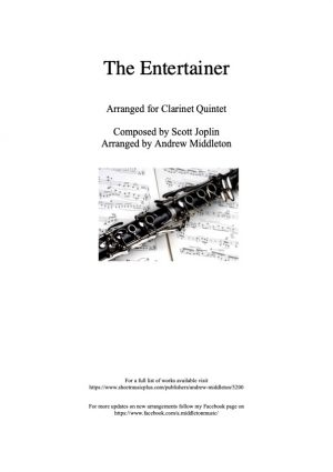 The Entertainer arranged for Clarinet Quintet