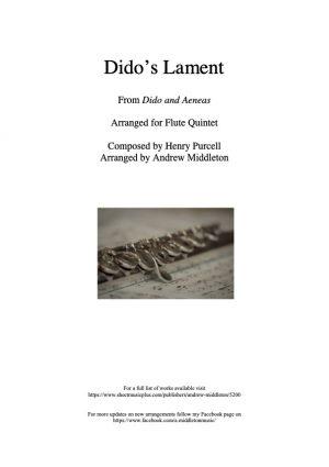 Dido's Lament arranged for Flute Quintet