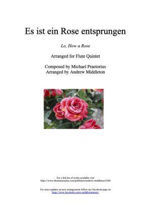 Es Ist Ein Rose Entsprungen arranged for Flute Quintet