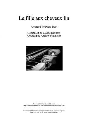 La fille aux cheveux de lin arranged for Piano Duet
