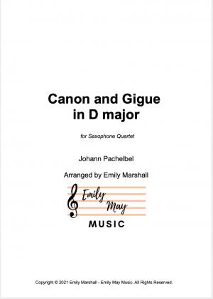 Canon in D – Pachelbel (for Saxophone Quartet)
