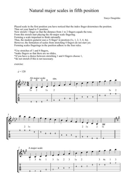 Natural major scales in fifth position Score cover