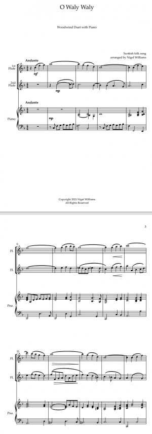 O Waly Waly, for Flute Duet and Piano