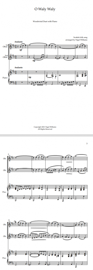 O Waly Waly, for Oboe Duet and Piano