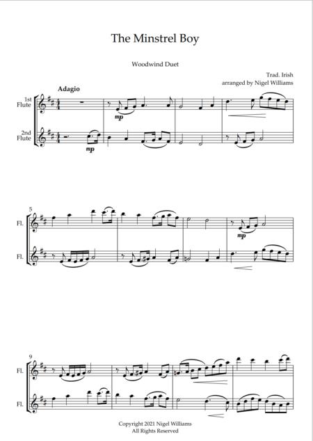The Minstrel Boy, for Flute Duet