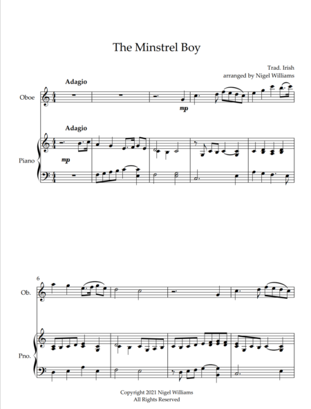 The Minstrel Boy, for Oboe and Piano