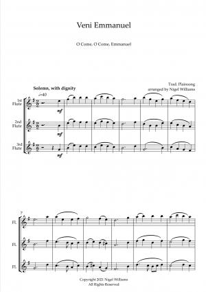 Veni Emmanuel (O Come, O Come, Emmanuel), for Flute Trio