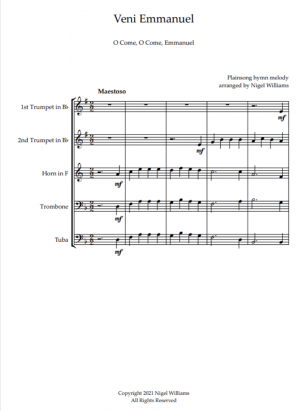 Veni Emmanuel (O Come, O Come, Emmanuel), for Brass Quintet