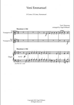 Veni Emmanuel (O Come, O Come, Emmanuel), for Trumpet Duet and Organ