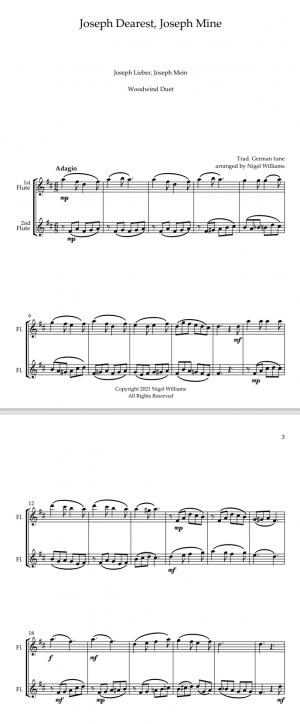 Joseph Dearest, Joseph Mine, for Flute Duet