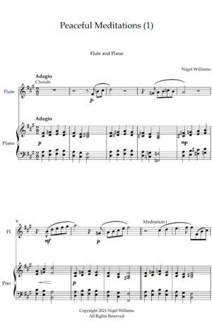 Peaceful Meditations (1), for Flute and Piano