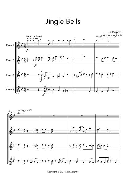 Jingle Bells - Jazz Arrangement for Flute Quartet