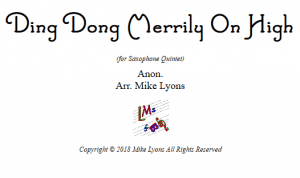 Saxophone Quintet – Ding Dong Merrily on High