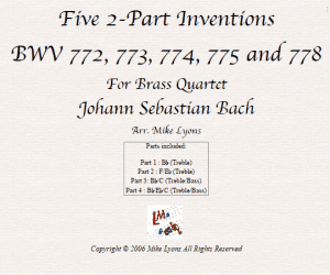 Five 2-Part Inventions BWV 772 – 778