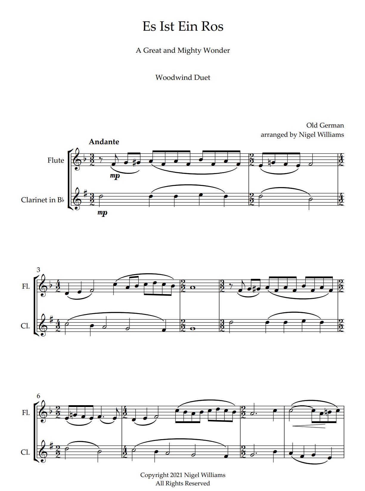 Es Ist Ein Ros, for Flute and Clarinet