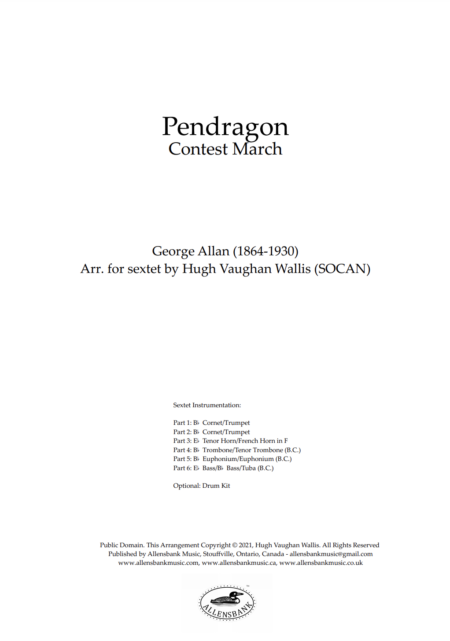 Pendragon – Contest March by George Allan - arranged for brass sextet
