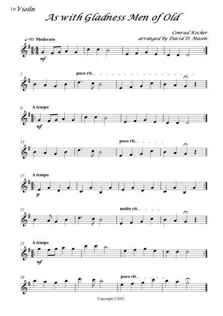 As with Gladness Men of Old String Trio Score and parts 6 scaled