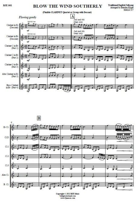 561 Blow The Wind Southerly Flexible Clarinet Quartet with Descant SAMPLE page 001
