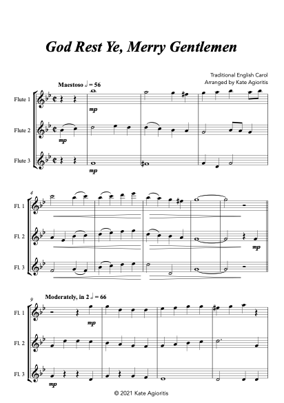 God Rest Ye Merry Gentlemen - Flute Trio