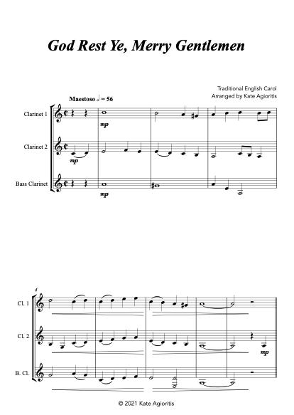 God Rest Ye Merry Gentlemen - Clarinet Trio